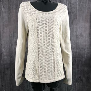Lucky Brand Lace Patched Thermal Long Sleeve XL